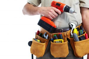 Handyman,With,A,Tool,Belt.,Isolated,On,White,Background.