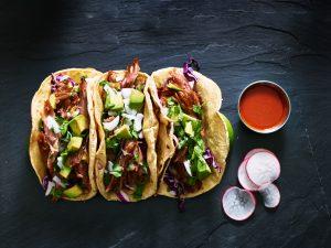 Three,Mexican,Pork,Carnitas,Tacos,Flat,Lay,Composition